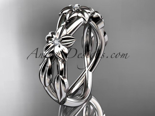 Platinum diamond leaf wedding ring, engagement ring, wedding band ADLR204B