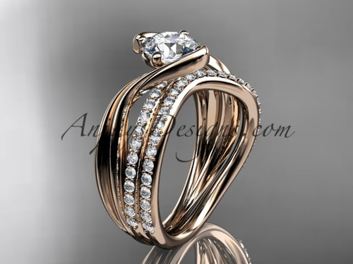 "14kt rose gold diamond leaf and vine wedding ring, engagement set with a ""Forever One"" Moissanite center stone ADLR78S"
