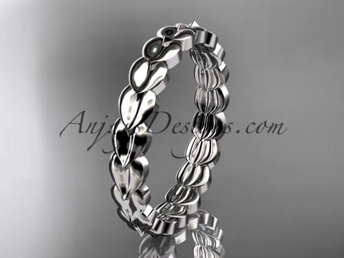 14kt white gold  leaf wedding ring, engagement ring, wedding band ADLR35B