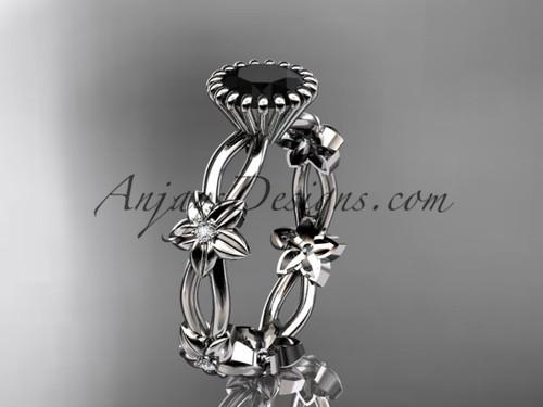 platinum diamond leaf and vine wedding ring,engagement ring with a Black Diamond center stone ADLR19D