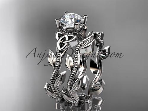 Welsh Knot Ring, White Gold Celtic Wedding Ring Set CT7238S