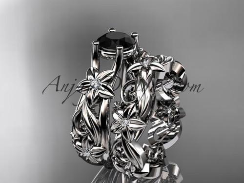 platinum diamond floral wedding set, engagement set with a Black Diamond center stone ADLR216S