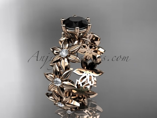Unique Bridal Rings 14k Rose Gold Black Diamond Flower Ring ADLR339