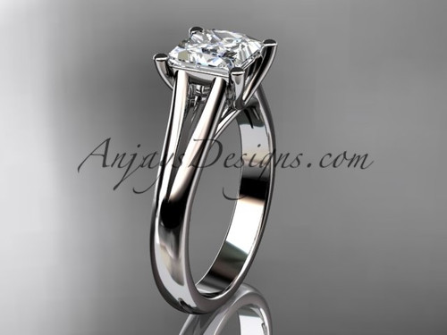 """14kt white gold unique engagement ring, wedding ring, solitaire ring with a """"Forever One"""" Moissanite center stone ADER143"""