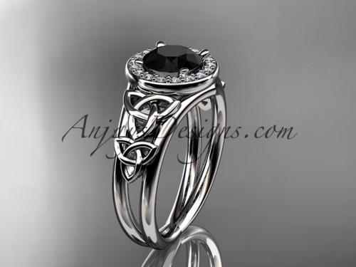 platinum diamond celtic trinity knot wedding ring, engagement ring with a Black Diamond center stone CT7131