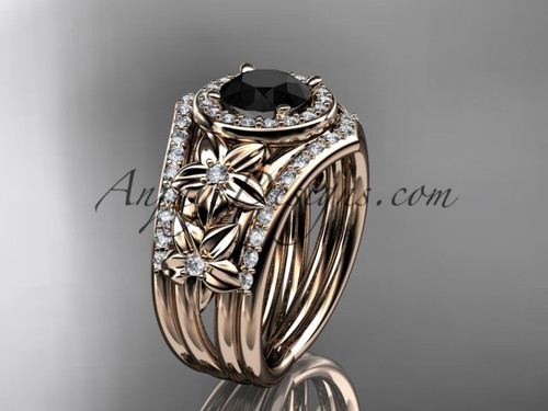 14kt  rose gold diamond floral wedding ring, engagement ring with a Black Diamond center stone and double matching band ADLR131S