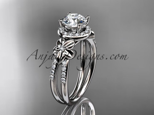 "Unique Diamond Wedding Rings, Platinum Flower Engagement Ring with a ""Forever One"" Moissanite center stone ADLR373"