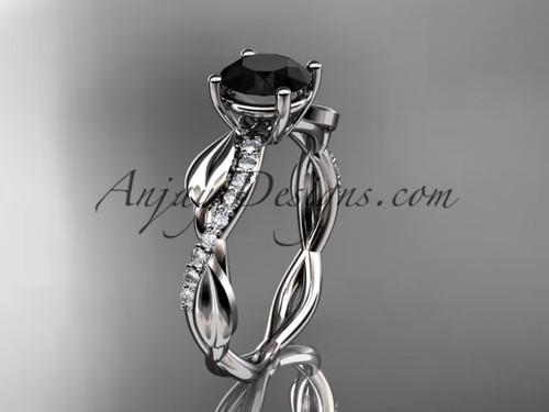 platinum leaf diamond wedding ring, engagement ring with a Black Diamond center stone ADLR385