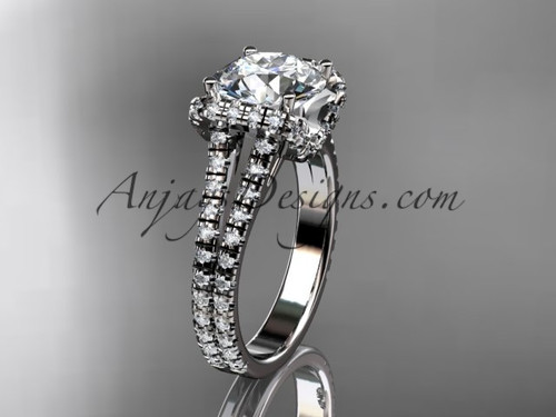 """14kt white gold diamond unique engagement ring, wedding ring with a """"Forever One"""" Moissanite center stone ADER107"""