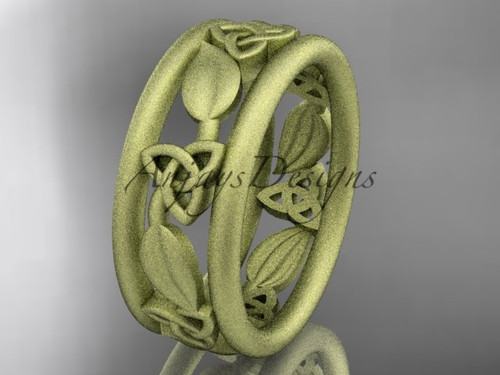 14kt yellow gold celtic trinity knot wedding band, matte finish wedding band, engagement ring CT7233G