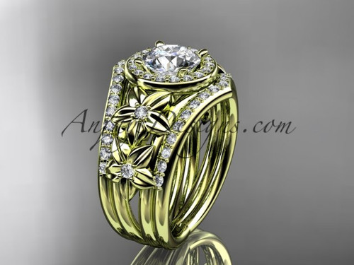 """14kt  yellow gold diamond floral wedding ring, engagement ring with a """"Forever One"""" Moissanite center stone and double matching band ADLR131S"""