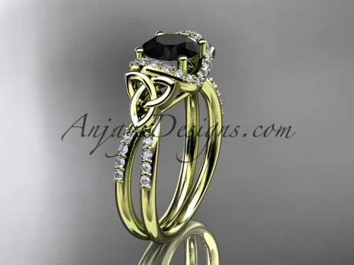 14kt yellow gold diamond celtic trinity knot wedding ring, engagement ring with a Black Diamond center stone CT7155