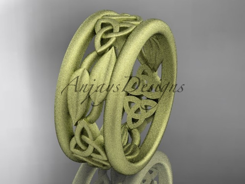 14kt yellow gold celtic trinity knot wedding band, matte finish wedding band, engagement ring CT7511G