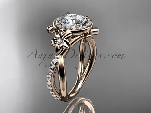 """14kt rose gold diamond leaf and vine wedding ring, engagement ring with a """"Forever One"""" Moissanite center stone ADLR89"""