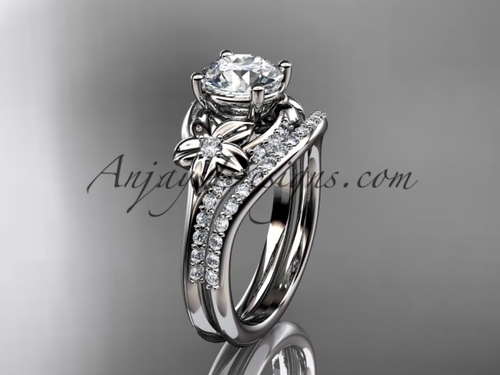 """Platinum diamond floral wedding set, engagement set with a """"Forever One"""" Moissanite center stone ADLR125S"""