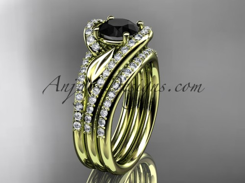 14k yellow gold diamond leaf  wedding ring with a Black Diamond center stone and double matching band ADLR317S