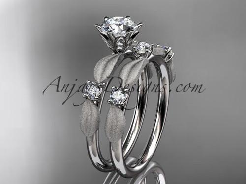 14kt white gold diamond unique leaf and vine engagement set, wedding set ADER177S