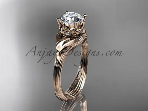 14kt rose gold diamond flower, leaf and vine wedding ring, engagement ring ADLR240