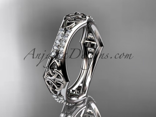 14kt white gold diamond celtic trinity knot wedding band,  triquetra ring, engagement  ring CT7353B
