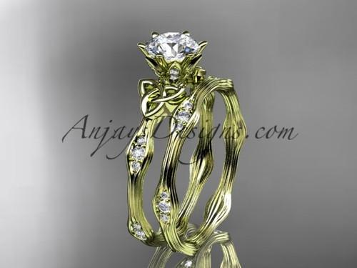 14kt yellow gold diamond celtic trinity knot wedding ring, engagement set CT7132S