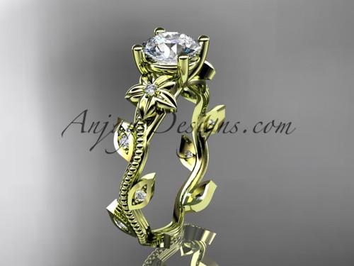 Leaf & Flower Engagement Ring Diamond Yellow Gold ADLR151