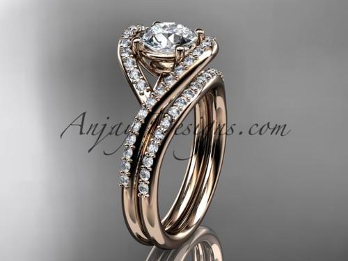 Rose Gold Bridal Ring, Modern Wedding Set for Women ADLR383S