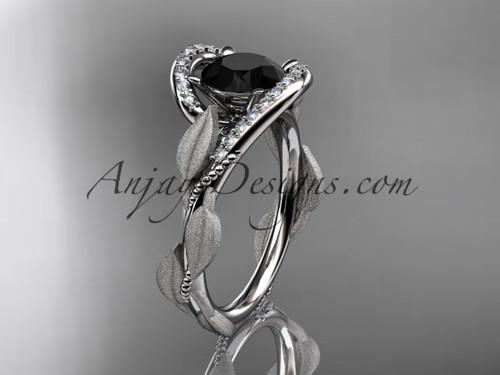 14kt white gold diamond leaf and vine wedding ring, engagement ring with Black Diamond center stone ADLR64