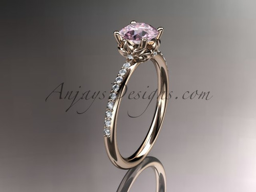 14kt rose gold diamond floral wedding ring, engagement ring with  Pink topaz center stone ADLR92