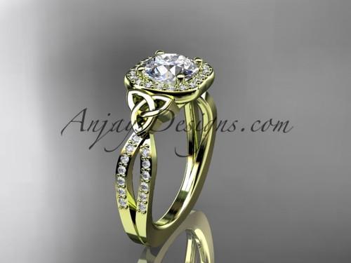 14kt yellow gold diamond celtic trinity knot wedding ring, engagement ring CT7393