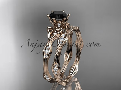 14k Rose Gold Celtic Trinity Knot Bridal Ring Set, Engagement Ring with a Black Diamond center stone CT7132S