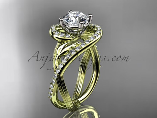 """Unique 14kt yellow gold diamond leaf and vine wedding ring, engagement ring with a """"Forever One"""" Moissanite center stone ADLR222"""