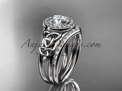 """14kt white gold diamond celtic trinity knot wedding ring, engagement set with a """"Forever One"""" Moissanite center stone CT7131S"""