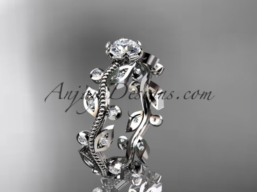 "14k white gold diamond floral leaf and vine wedding ring, engagement ring with a ""Forever One"" Moissanite center stone ADLR1"