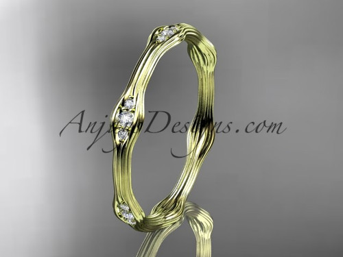 14kt yellow gold diamond vine wedding band, engagement ring ADLR21AB