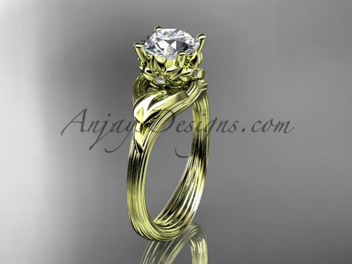 """14kt yellow gold diamond flower, leaf and vine wedding ring, engagement ring with a """"Forever One"""" Moissanite center stone ADLR240"""