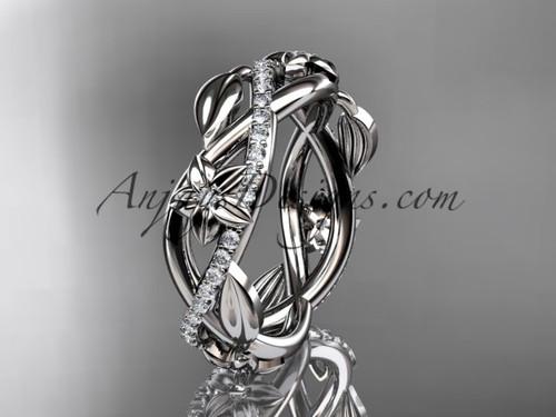 platinum diamond leaf and flower wedding band, engagement ring ADLR403B