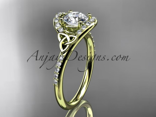 Yellow Gold Moissanite Celtic Knot Bridal Ring CT7317