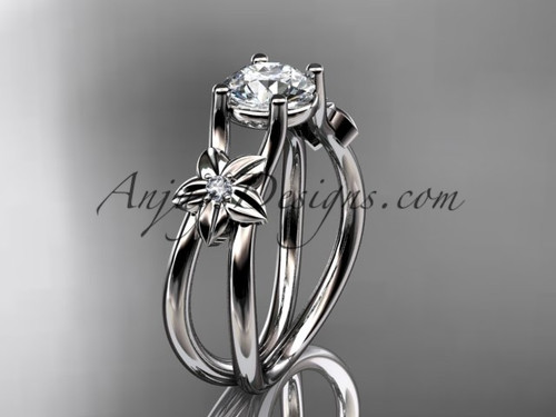 """Platinum diamond floral wedding ring, engagement ring with a """"Forever One"""" Moissanite center stone ADLR130"""