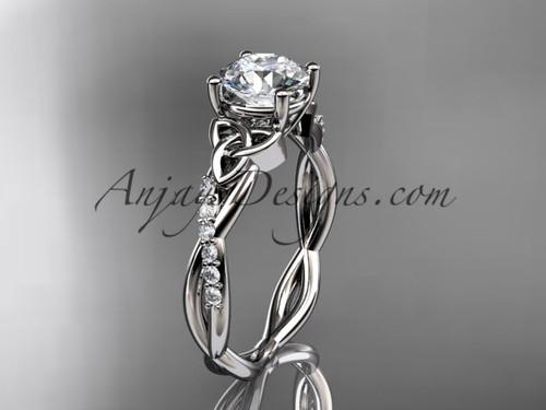 Celtic Engagement Ring, White Gold Moissanite Ring CT7388