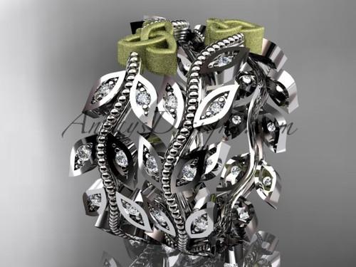 two-tone platinum diamond celtic trinity knot, leaf and vine wedding ring, engagement set, wedding band CT7162B 1