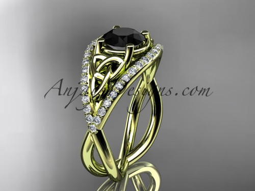 14kt yellow gold celtic trinity knot engagement ring ,diamond wedding ring with Black Diamond center stone CT788