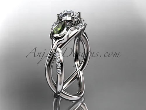 Peridot Wedding Ring, White Gold Tulip Engagement Ring ADLR226