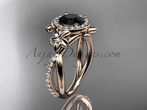 14kt rose gold diamond leaf and vine wedding ring, engagement ring with a  Black Diamond center stone ADLR89