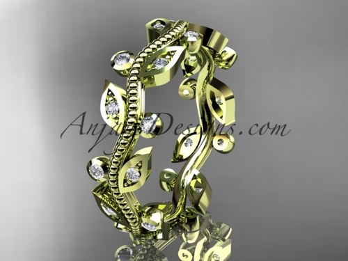 14kt yellow gold diamond leaf and vine wedding ring,engagement ring,wedding band ADLR1B
