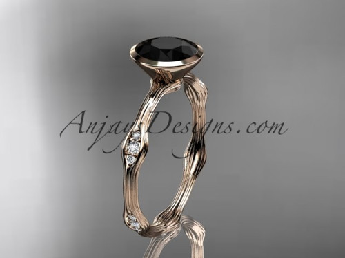 14k rose gold diamond vine wedding ring, engagement ring with Black Diamond  center stone ADLR21A