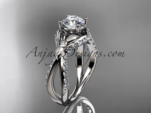 """Unique 14kt white gold diamond flower, leaf and vine wedding ring, engagement ring with a """"Forever One"""" Moissanite center stone ADLR218"""