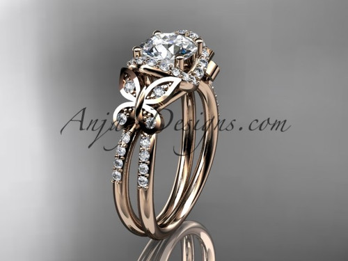 14kt rose gold diamond butterfly wedding ring, engagement ring ADLR141