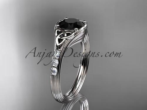Trinity Knot Black Diamond White Gold Wedding Rings CT7333