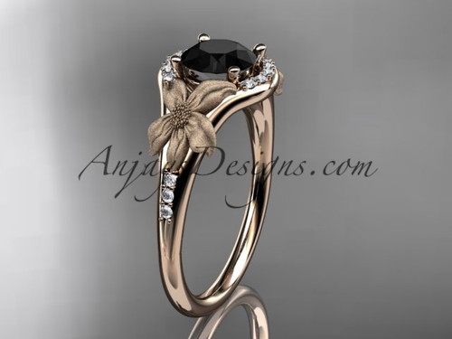 14kt rose gold diamond leaf and vine wedding ring, engagement ring with a Black Diamond center stone ADLR91