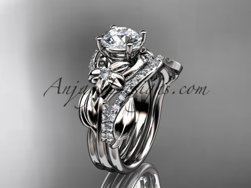 """Unique platinum diamond flower, leaf and vine wedding ring, engagement set with a """"Forever One"""" Moissanite center stone ADLR224S"""